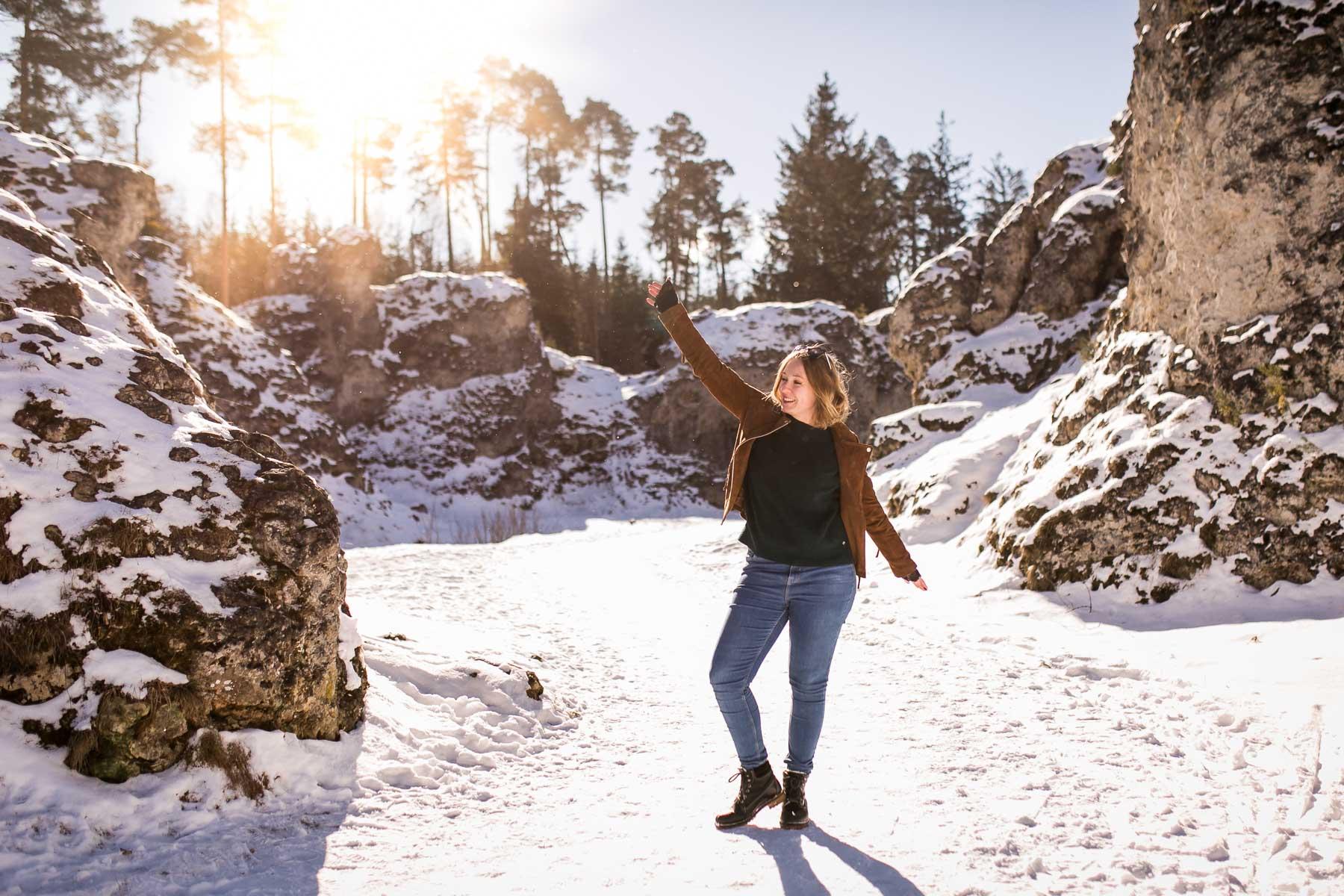 Fotoshooting im Wental bei Heidenheim im Winter