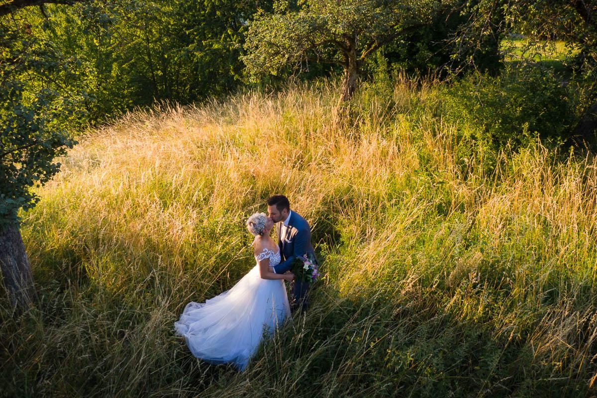 Drohnenfoto bei Brautpaarshooting in Öhringen
