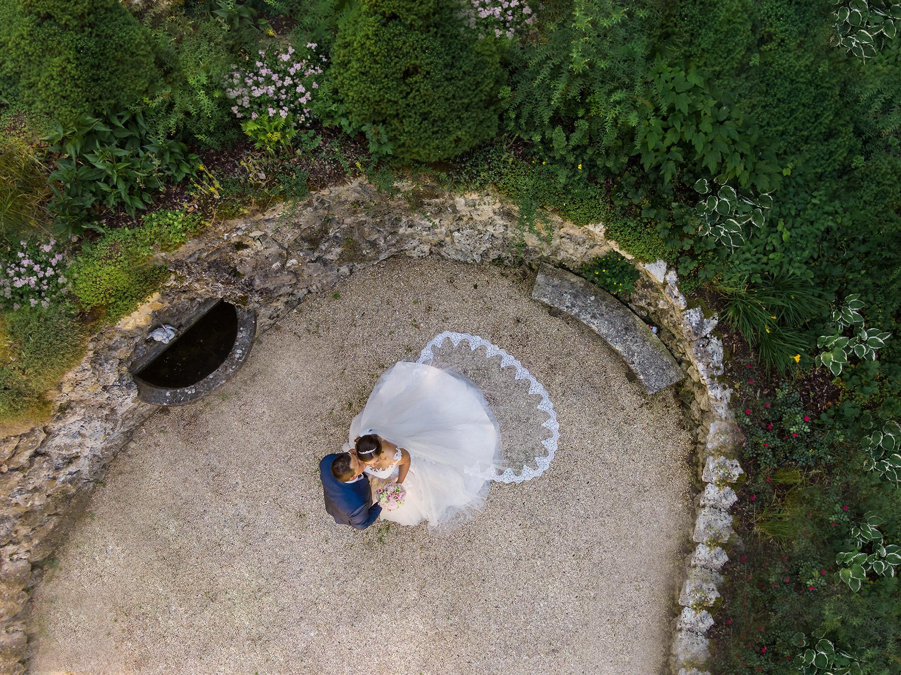 Drohnenfoto bei der Hochzeit in Neresheim