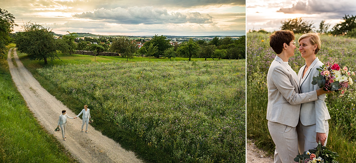 Brautpaar Fotoshooting in Öhringen mit Drohne