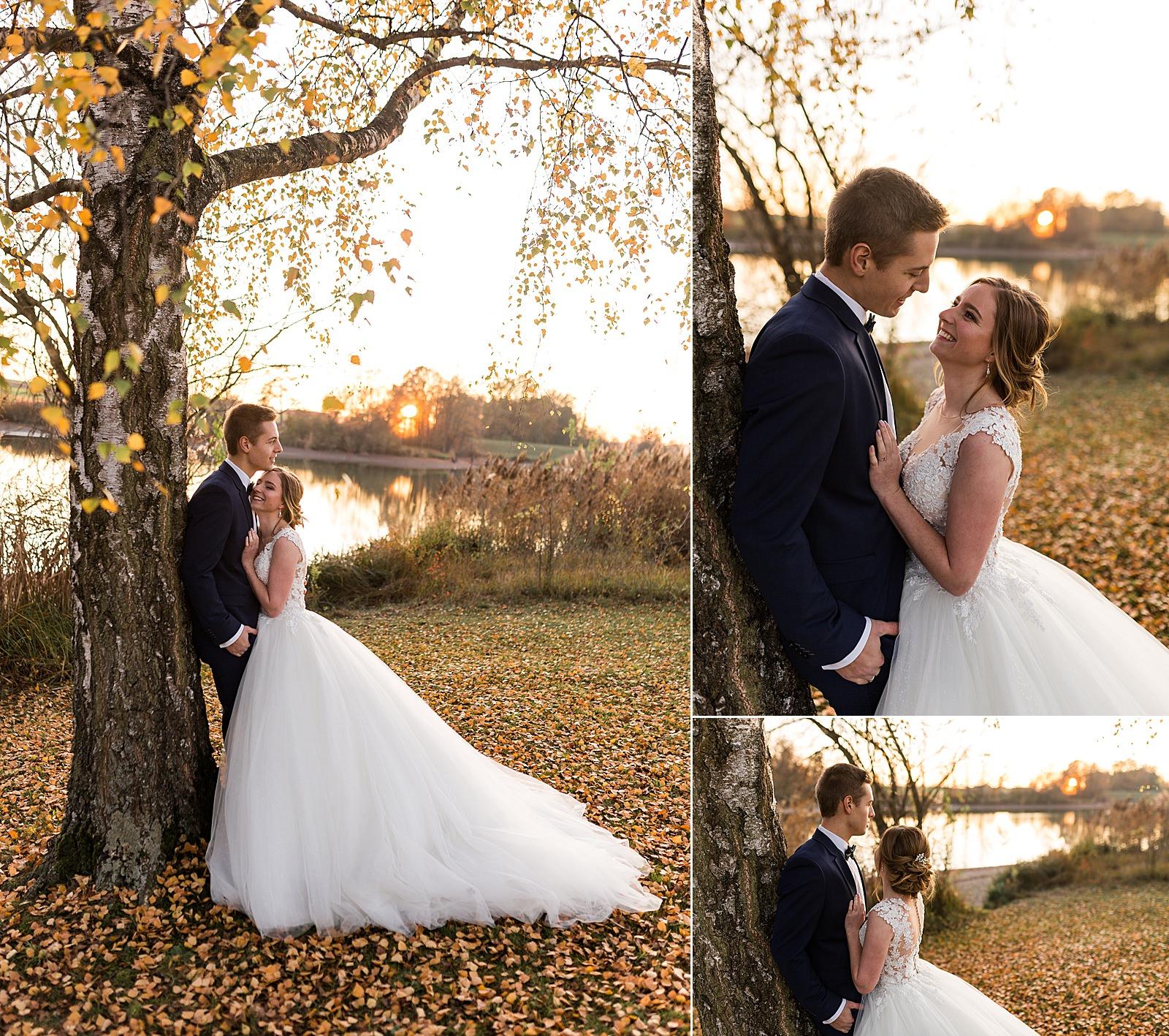 Brautpaarshooting im Herbst am Degenbachsee in Crailsheim