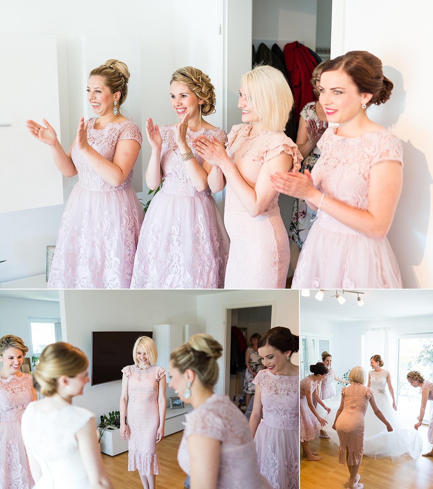 Hübsche Brautjungfern beim Getting Ready
