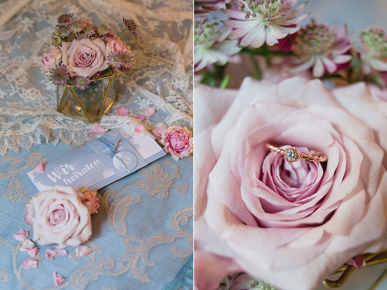 Schöne Hochzeitspapeterie mit Verlobungsring