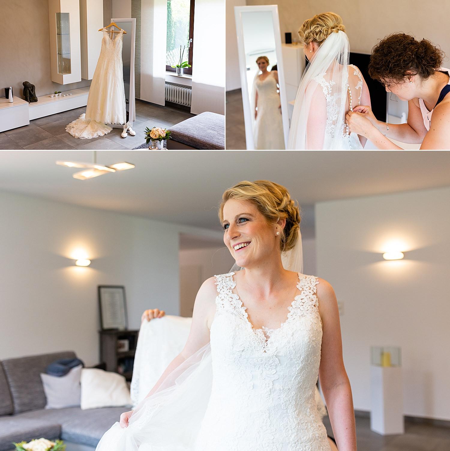 Glückliche Braut wartet auf ihre Hochzeit