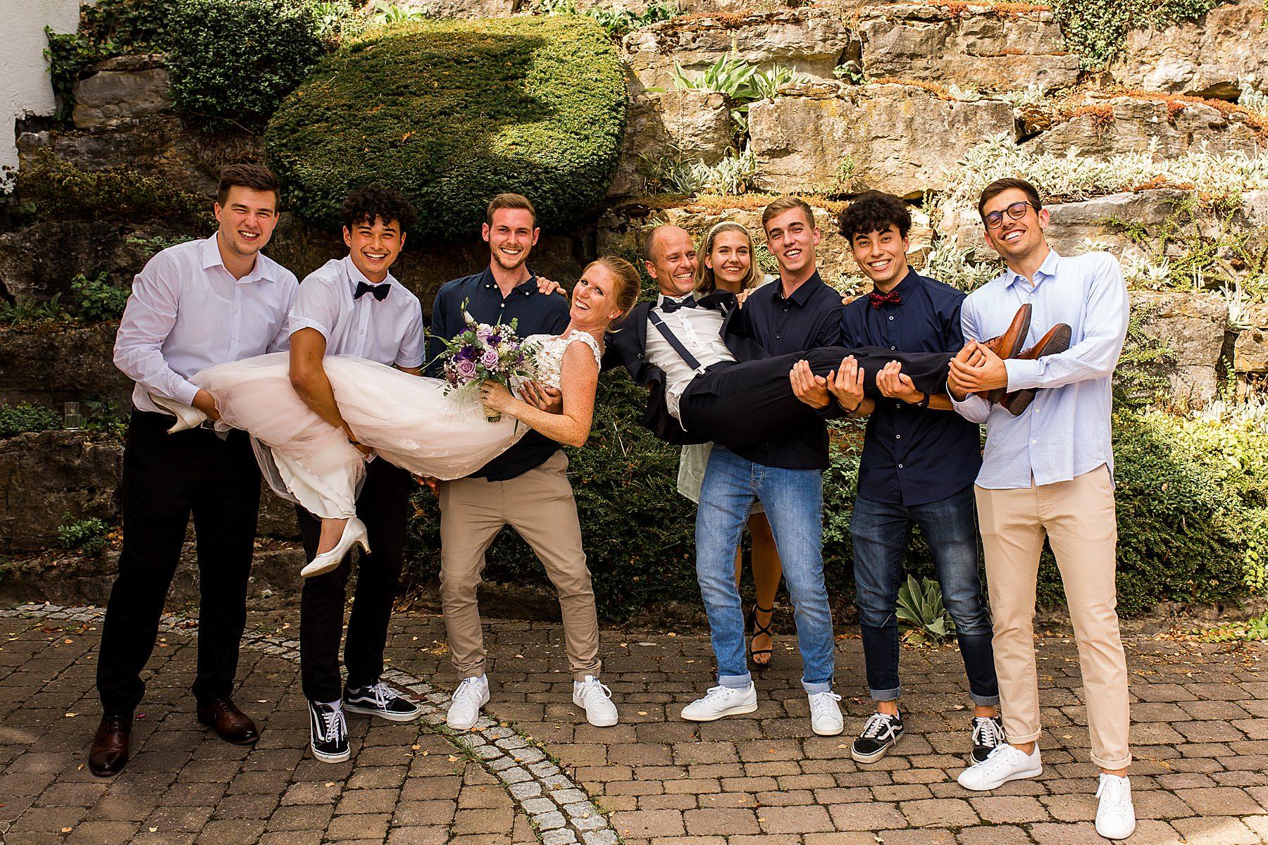 Lustige Gruppenfotos auf der Hochzeit in Heilbronn