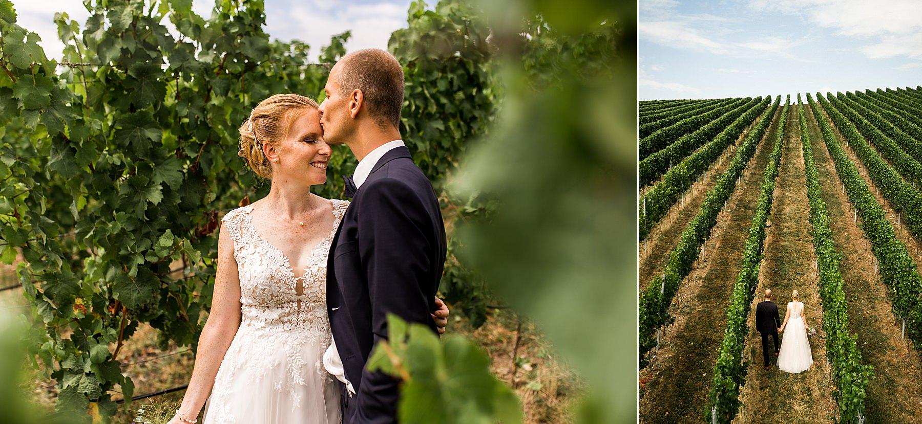 Hochzeitsfotograf Daniela Knipper in heilbronn in den Weinbergen mit Drohne